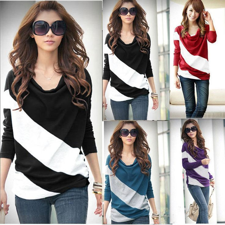 Loose Casual Girl Blouse T Shirt Stripe Batwing long Sleeve Tops 4 Size 4 Color #Unbranded #Blouse #Casual  http://www.ebay.com/itm/Loose-Casual-Girl-Blouse-T-Shirt-Stripe-Batwing-long-Sleeve-Tops-4-Size-4-Color-/141412968421?pt=LH_DefaultDomain_0&var=&hash=item20ecdea7e5