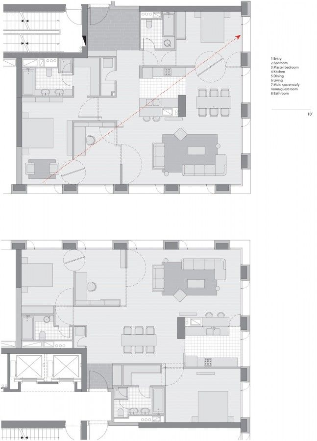 Apartment Plans for LINKED HYBRID by Steven Holl Architects