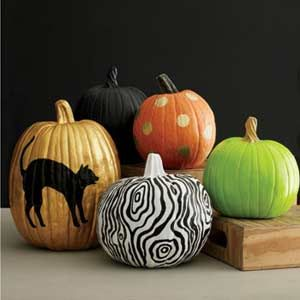 No-Carve Pumpkin Designs - PERSONALIZE WITH PAINT | http://www.rachaelraymag.com/easy-party-ideas/party-decorating-ideas/no-carve-pumpkin-designs  #pumpkin #halloween #decorating