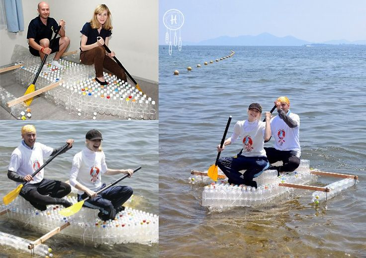 homemade recycled bottle raft---girls could make it together