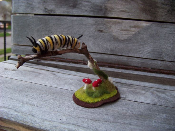 Needle Felted Monarch Caterpillar on by peachesproducts on Etsy, $42.00
