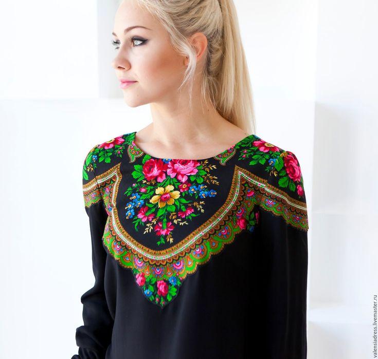Купить Черное платье колокольчик с Павлопосадским платком - черный, однотонный, Платье нарядное, платье вечернее