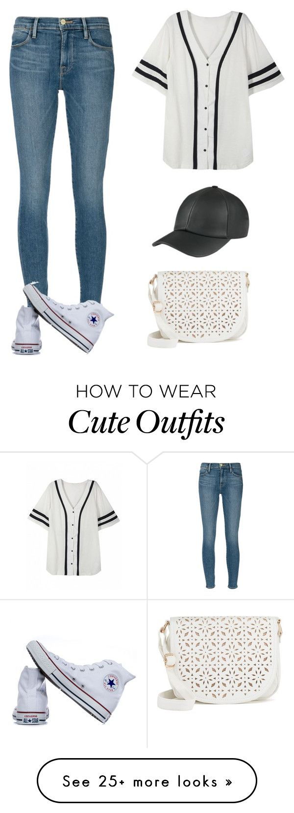 """A simple cute outfit, you can wear to a baseball game"" by miya-ramadan on Polyvore featuring Frame Denim, Converse and Under One Sky"