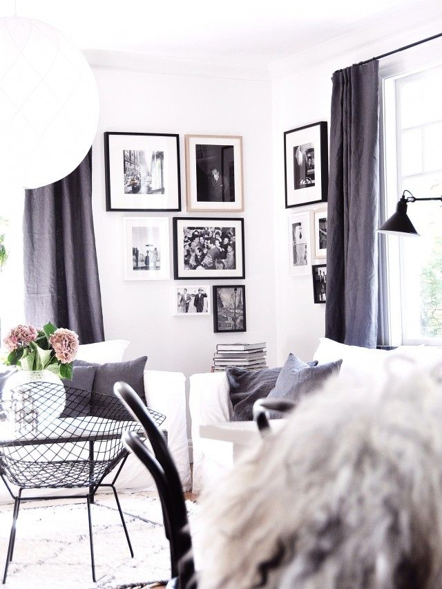 Swedish interiors, black and white. linen curtains | Strawberry Dreams