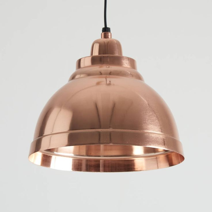 Lovely copper plated pendant light!This stunning, traditionally styled pendant is made from aluminium and then copper plated both inside and out, for a lovely warm glow! It looks great lit or unlit. It comes with approximately 110cm of black flex that can be shortened to any length and matching copper plated aluminium rose. Ideal in kitchens, dining rooms, hallways or living rooms, they look great on their own and also in 2s or 3s. Takes a standard E27 (large screw) bulb and is…