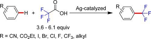 Silver-Catalyzed C–H Trifluoromethylation of Arenes Using Trifluoroacetic Acid as the Trifluoromethylating Reagent