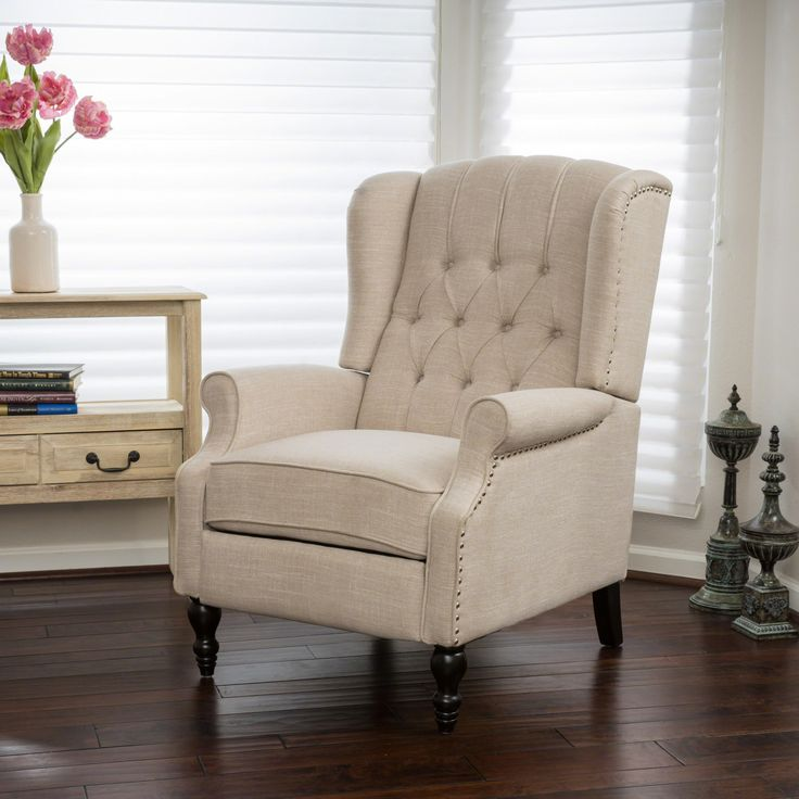 Bruce Tufted Fabric Wingback Recliner Walmart Canada