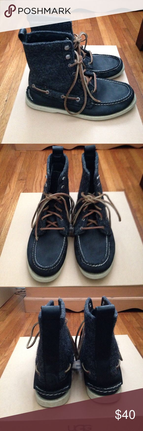 Sperry Top Sider boots From the Cloud Logo collection, the 7-Eye boot comes in leather/ wool combo with a thin boat shoe outer sole. Gently used, dark navy color. Sperry Top-Sider Shoes Boots