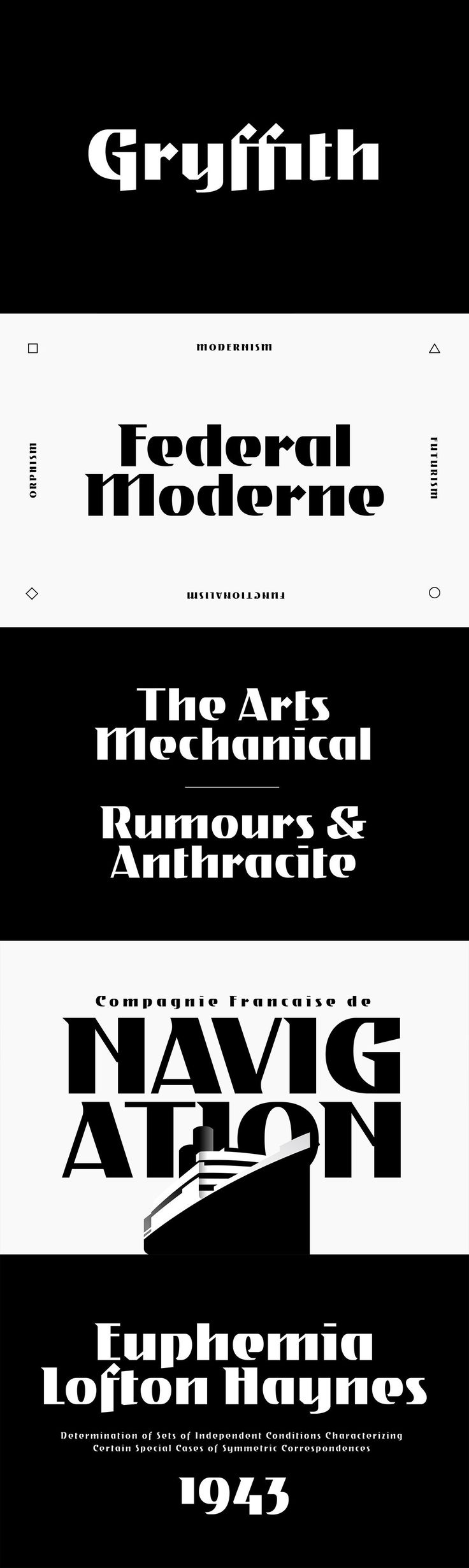 Gryffith CF - Gryffith is a display typeface blending a wide range of influences from medieval calligraphy to art deco lettering to high technology. Strange, captivating, and elegant, Gryffith is especially useful for logos, headlines, posters, and artwork. The t...