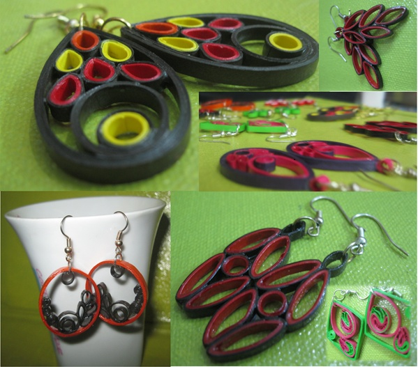 Handmade paper quilling jewelry from www.gingershot16.blogspot.in