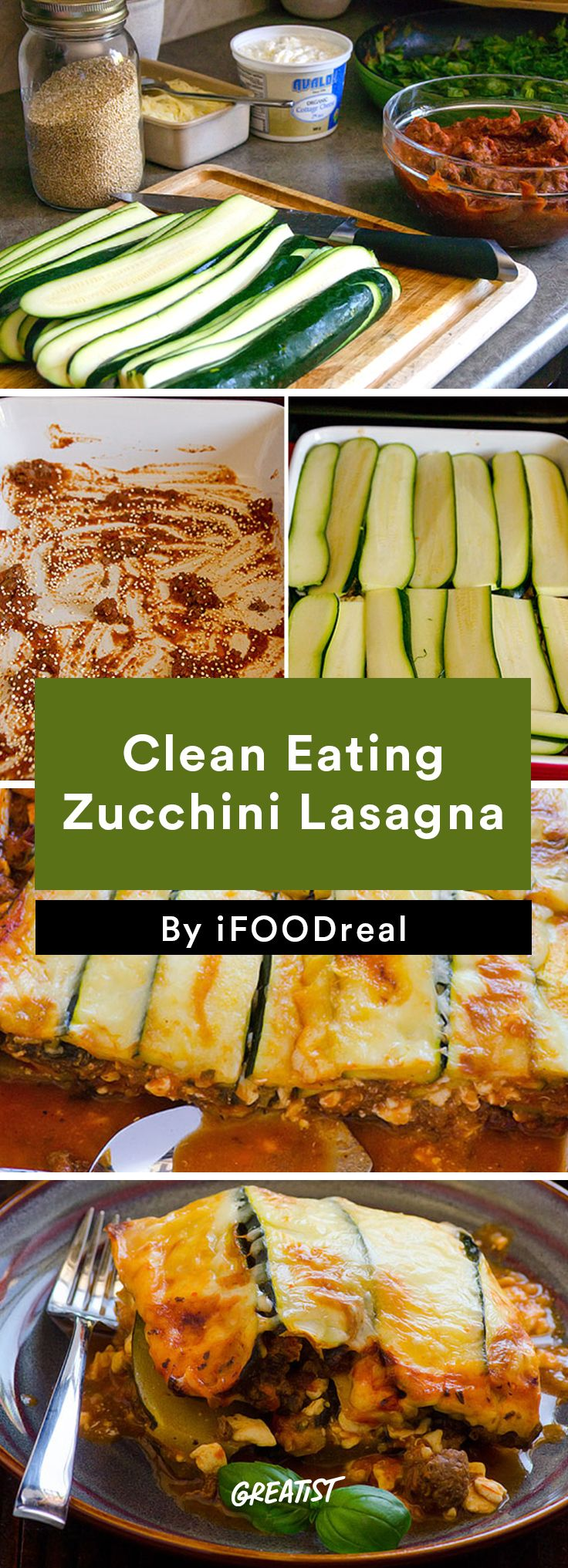 6. Clean Eating Zucchini Lasagna #healthy #dinner #recipes http://greatist.com/eat/clean-eating-ground-turkey-recipes