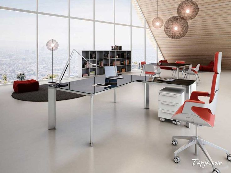 Desk  Office  Design    with orange  white  swivel chair and    black  glass office  desk  along  with    wide  glass  window    and  wooden  wall    also  atrractive  pendant  lamps