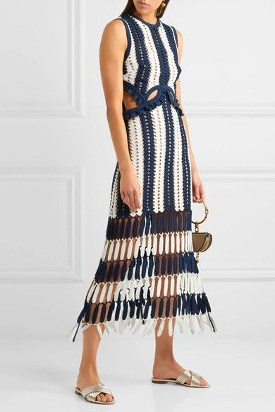 Self-Portrait - Striped Crochet-knit Midi Dress - Navy - UK