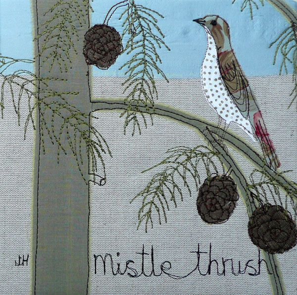 Mistle Thrush embroidery by the talented Joanne Hill