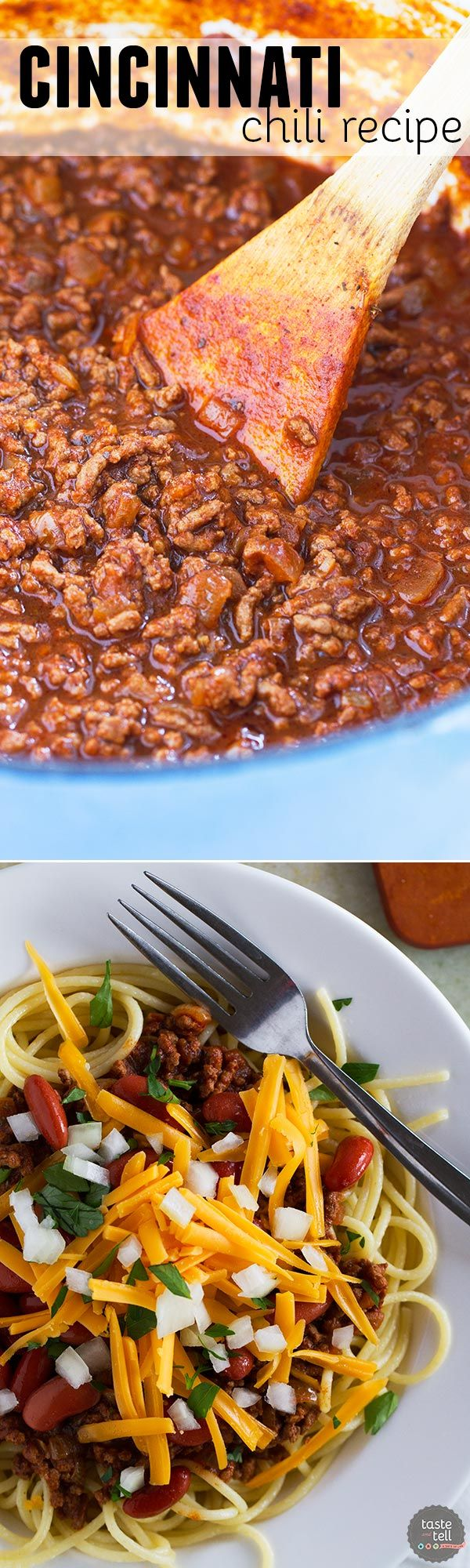 Beef chili is served over spaghetti and topped with beans, cheese and onion in this traditional Cincinnati Chili Recipe.: