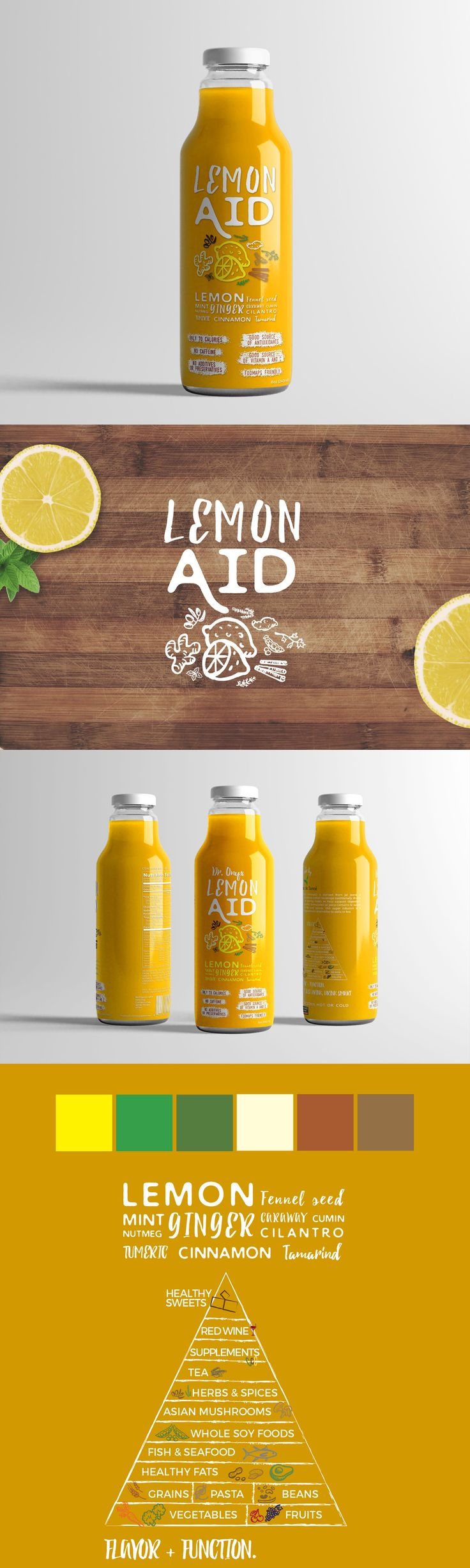 LemonAID is a healthy drink that needed an upscale modern look incorporating a clear label. Although this label design wasn't chosen as the final to use, we incorporated a hand-made packaging design with handwriting and hand-drawn fruits & vegetables. branding lemon yellow lemonade juice glass bottle clear label design brand logo