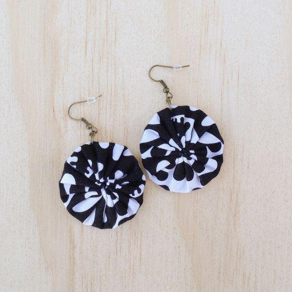 Round Fabric Earrings Boho Black & White Monochrome
