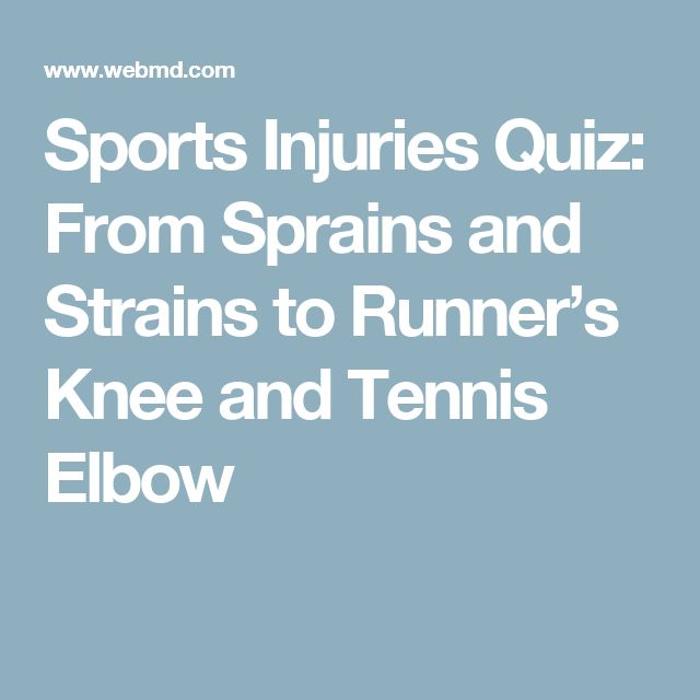 Sports Injuries Quiz: From Sprains and Strains to Runner's Knee and Tennis Elbow