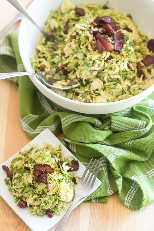 This Creamy Brussels Sprouts and Smokey Bacon Salad recipe can be made several days ahead. It will remain just as fresh and tasty as it was on day one.