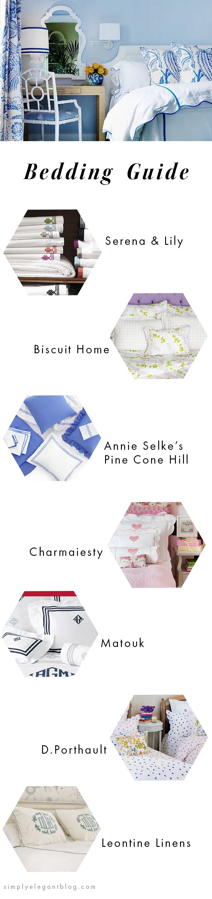 Bedding Guide - Where to Buy New Sheets. Annie Selke, Biscuit Home, Serena & Lily, Charmaiesty, Matouk, D.Porthault, Leontine Linens.