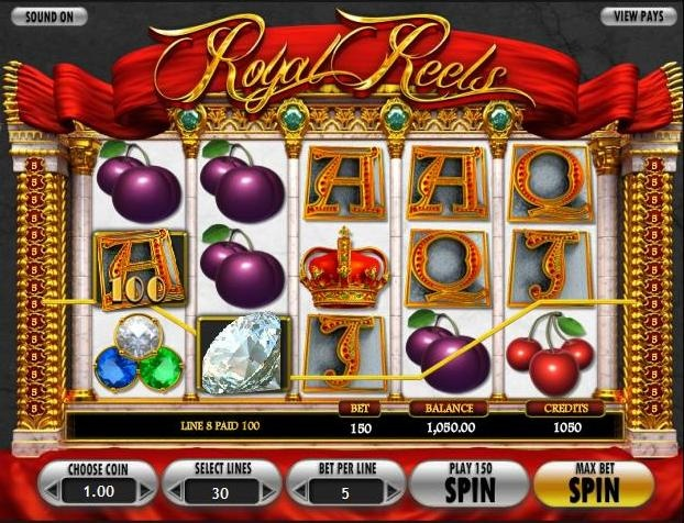 Play the Royal Reels video slots game for free or for money at 1onlinecasino.com