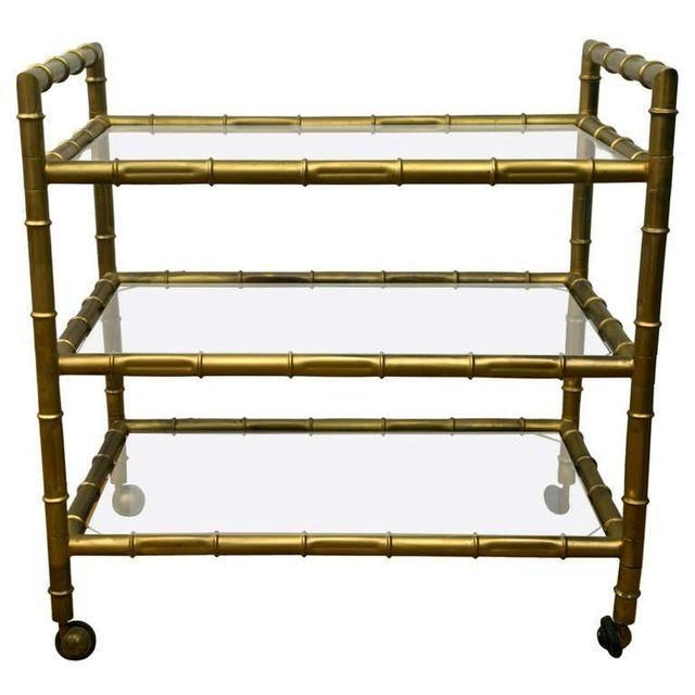 Image Of 1950s Faux Bamboo Bar Cart