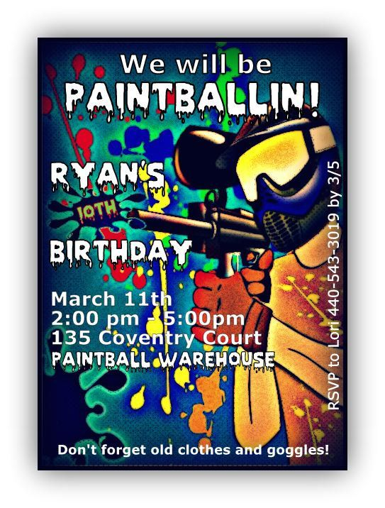 Paintball Birthday party Invitations boy invite paintball via Etsy
