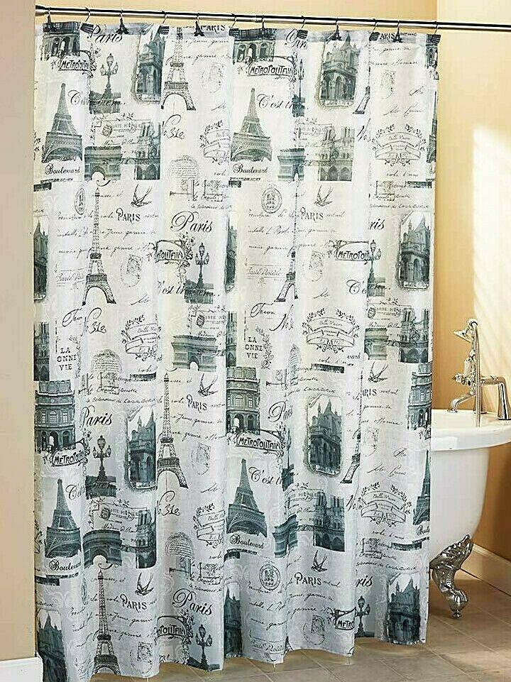 New Vintage Paris Fabric Shower Curtain Eiffel Tower Bath Black
