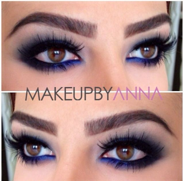nighttime makeup idea - sapphire blue + black eyeliner on lower lashline