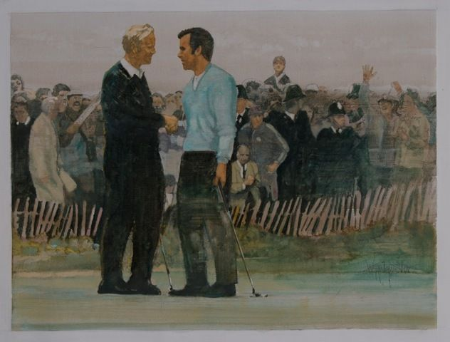 The 1969 Ryder Cup. The first tie in Match History. Walt Spitzmillers painting captures 'The Concession'. Buy this art direct from The Fine Art of Golf.