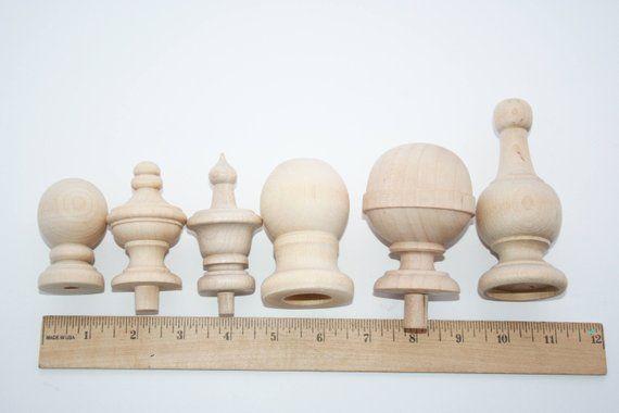 1 Natural Wood Finials Jar Tops Wood Finials For Decorative