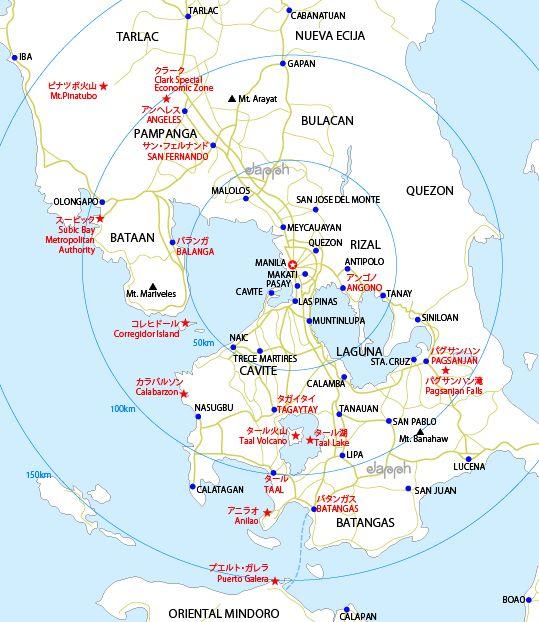 マニラ近郊の観光地地図