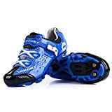 Smartodoors MTB Road Cycling Shoes Adjustable Road Bike Shoes for MTB and Road(MTB-Blue Black,US11)   .The size are asian size,maybe will smaller one size than the us size, please read the size more carefully before you place the order. Fabric1.2mm veneer microfiber breathable wear. Cleat...