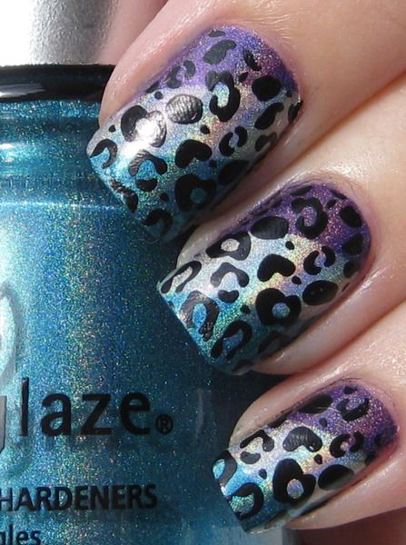 leopard print: Cheetahs Nails, Nails Art, Nails Design, Purple Nails, Animal Prints, Leopards Nails, Leopard Prints, Cheetahs Prints, Leopards Prints Nails
