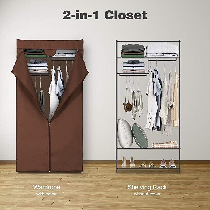 LANGRIA 2-Door Compact Portable Zip Closet Organizer Storage Wardrobe Rack Brown