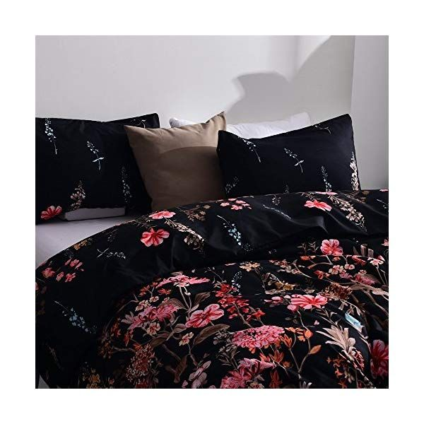 Leadtimes Flower Duvet Cover Set Floral Black Boho Hotel Bedding