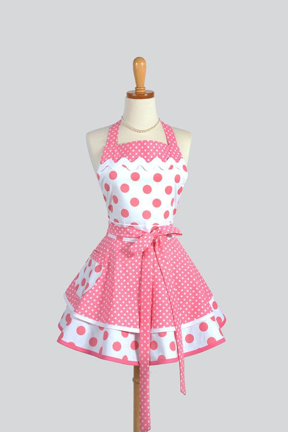 Because pockets- That's why. Ruffled Retro Apron - Sexy Womens Apron in Bubblegum Pink Polka Dots Handmade Full Kitchen Apron