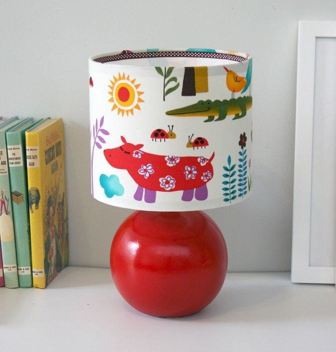 Fabric covered childrens lamp  No instructions but good inspiration  Use  other diy lampshade instructions. 123 best Cute Children s Lampshades   Nursery Lighting Ideas