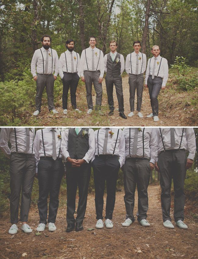 groomsmen in grey / black neutrals with bright mint shoes & mint tie for the groom