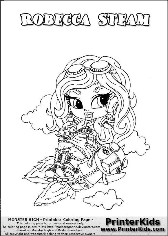 Monster High Robecca Steam Baby Chibi Cute Coloring Page11133