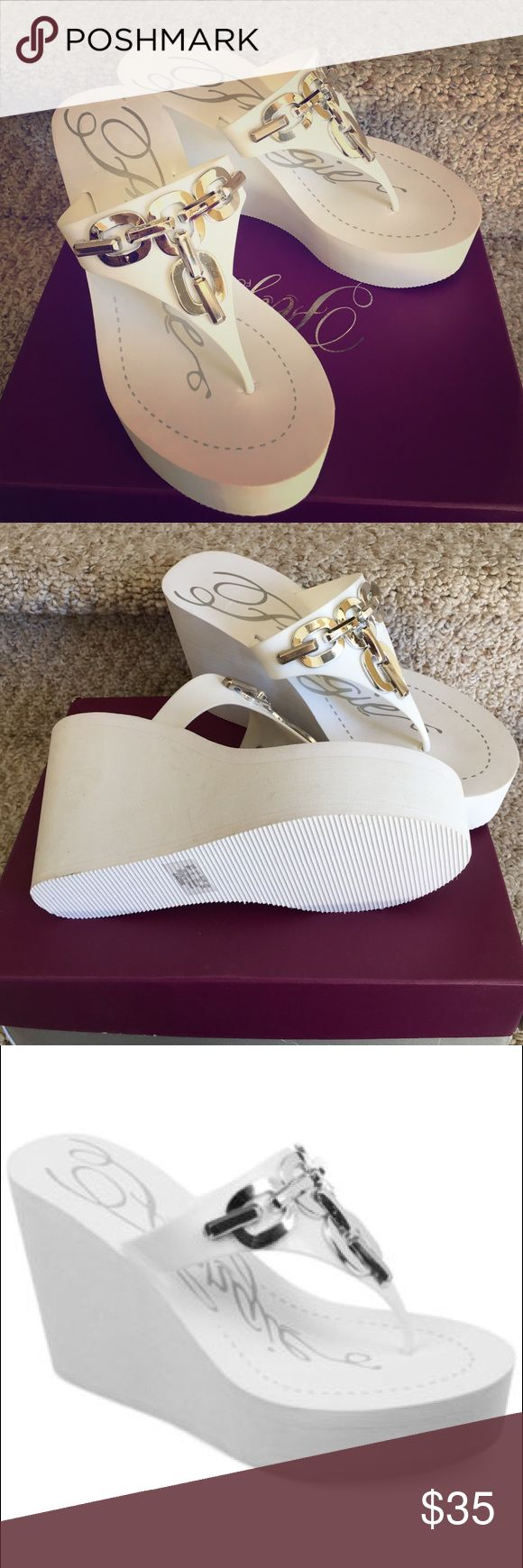 🎄🎄💥💥NWT-Fergie white thong sandals These white sandals are brand new, never worn! Right shoe has some scuffs on the inside of the heel from the showroom floor. Fergie Shoes Platforms