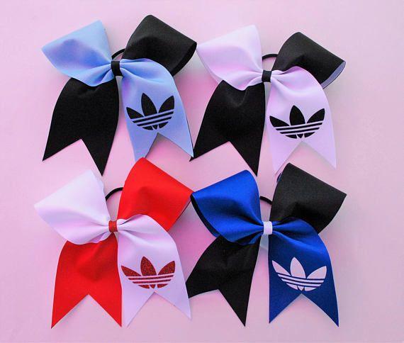 $8. Medium Adidas Grosgrain Cheer Hair Bow Tick Tock Style #cheerleading #ad