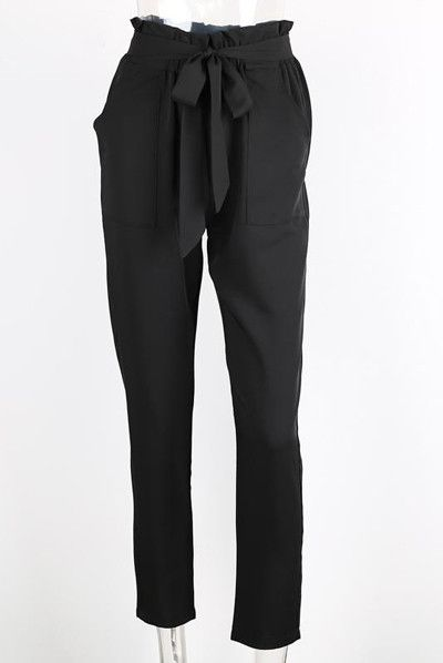 Women's Pencil Pants Tie Waist Pants Khaki Elegant Ruffle Bow Peg Cropped Pants Brief Pockets