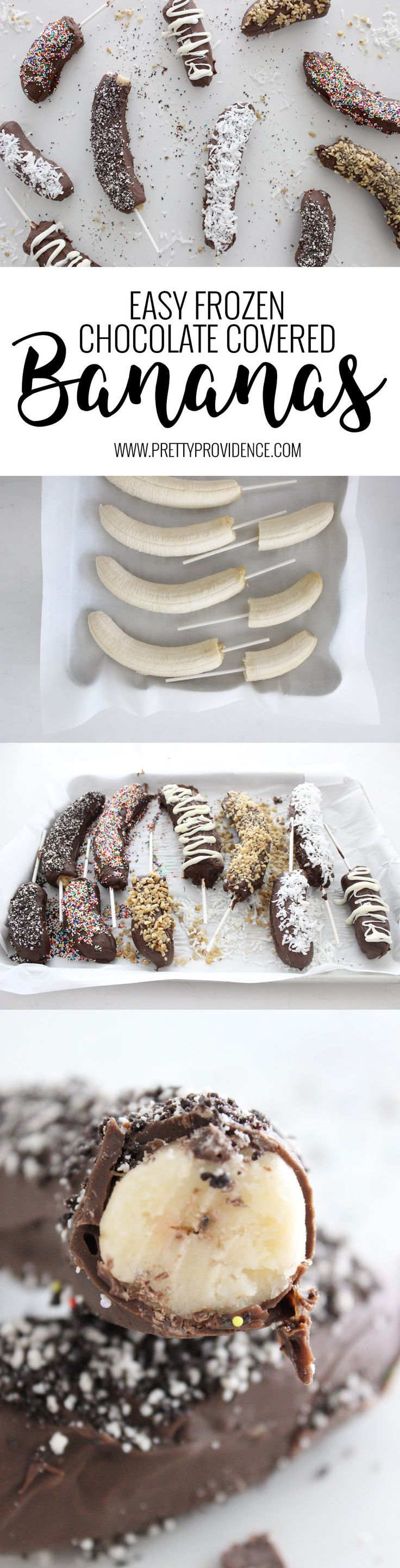Not only are these frozen chocolate covered bananas easy to make, they are freaking delicious! Such a fun summer treat, and lots better for you than a regular ice cream bar! MichaelsMakers Pretty Providence
