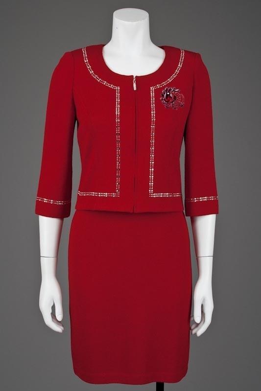 St John Knits Evening Red Swarovski Crystal Jacket & Dress Suit With Brooch (2)