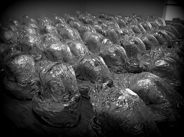 Kader Attia - Ghost - 2007 - Aluminium foil - Dimensions variable – Centre Georges Pompidou on Flickr.  July 11, 2013   #Museando