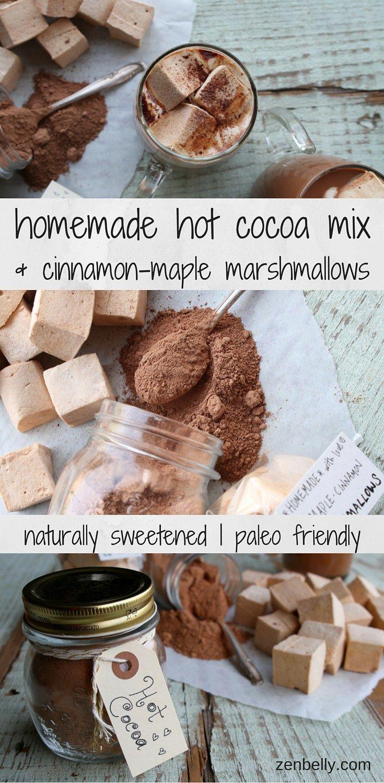 GREAT DIY gift idea! Homemade Hot Cocoa Mix & Cinnamon-Maple Marshmallows - zenbelly