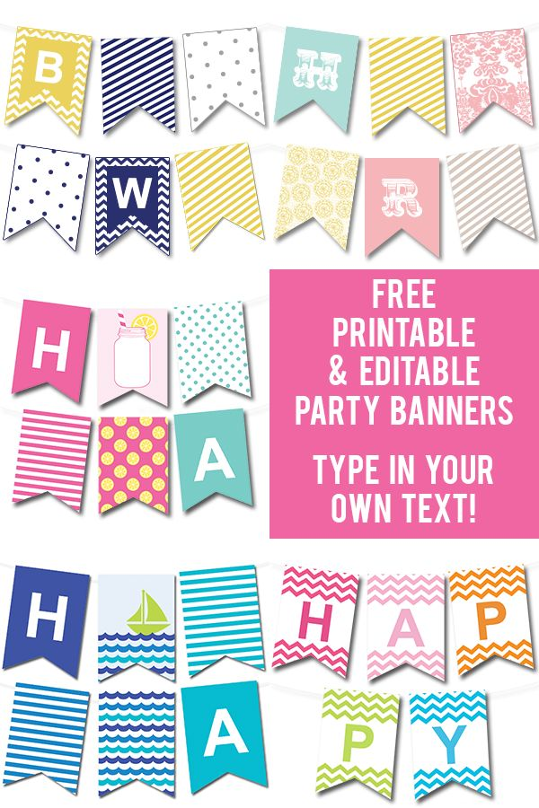 Lots of FREE printable party banners from @chicfetti you can make any banner you'd like by typing in your own text! #freeprintable
