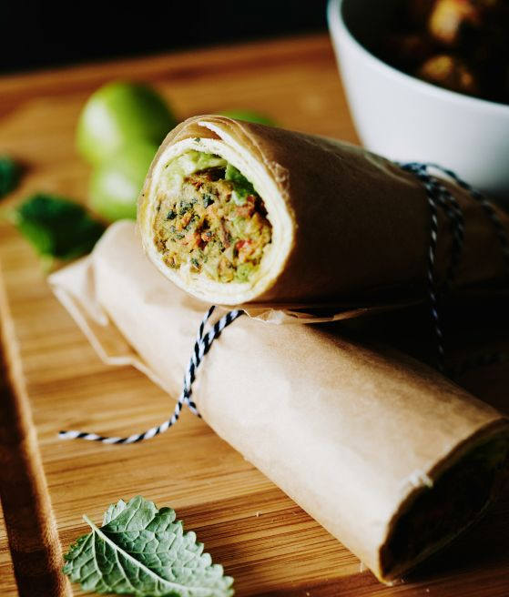 Wrap de almôndegas vegetarianas