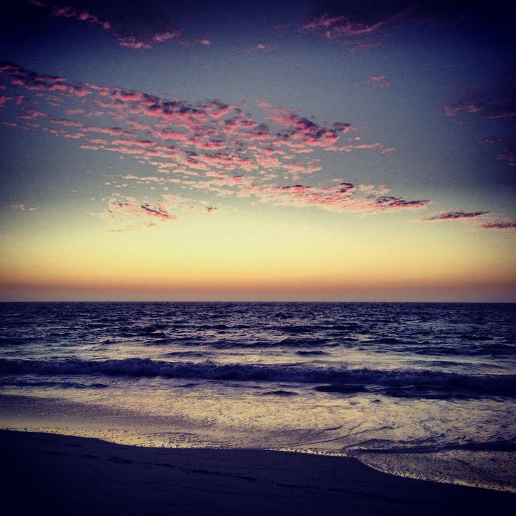 Stunning sunset at Mullaloo beach on my first night in Perth, Australia!! Sunset • beach • sand • waves • sky • clouds • West Australia